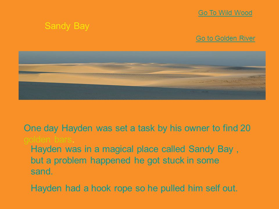 Sandy Bay One day Hayden was set a task by his owner to find 20 golden bars.