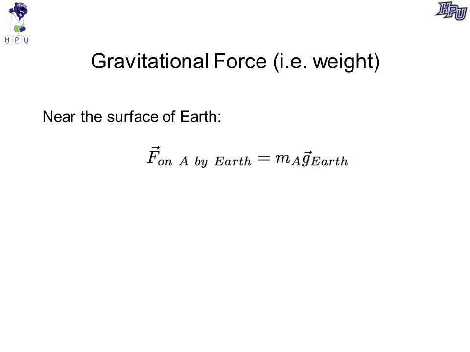 Gravitational Force (i.e. weight) Near the surface of Earth: