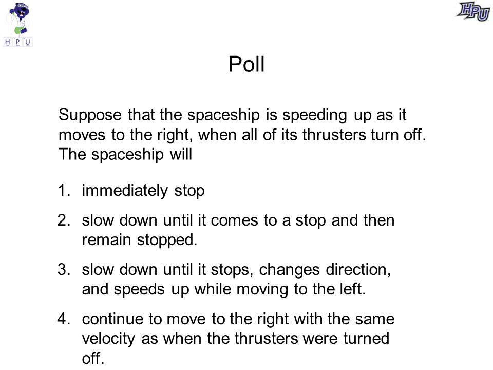 Poll Suppose that the spaceship is speeding up as it moves to the right, when all of its thrusters turn off.