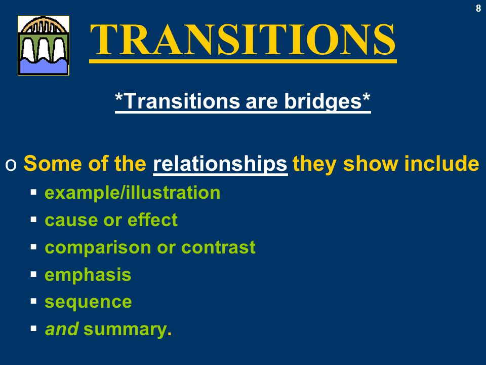 9 TRANSITIONS *From Paragraph to Paragraph* oOnce each paragraph becomes a cohesive whole  coherent  connected logically oThen we use transitions to connect coherent paragraphs to each other, too.