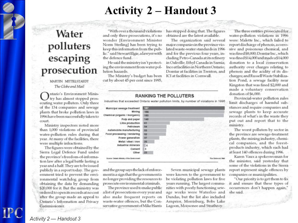 Activity 2 — Handout 3 Activity 2 – Handout 3