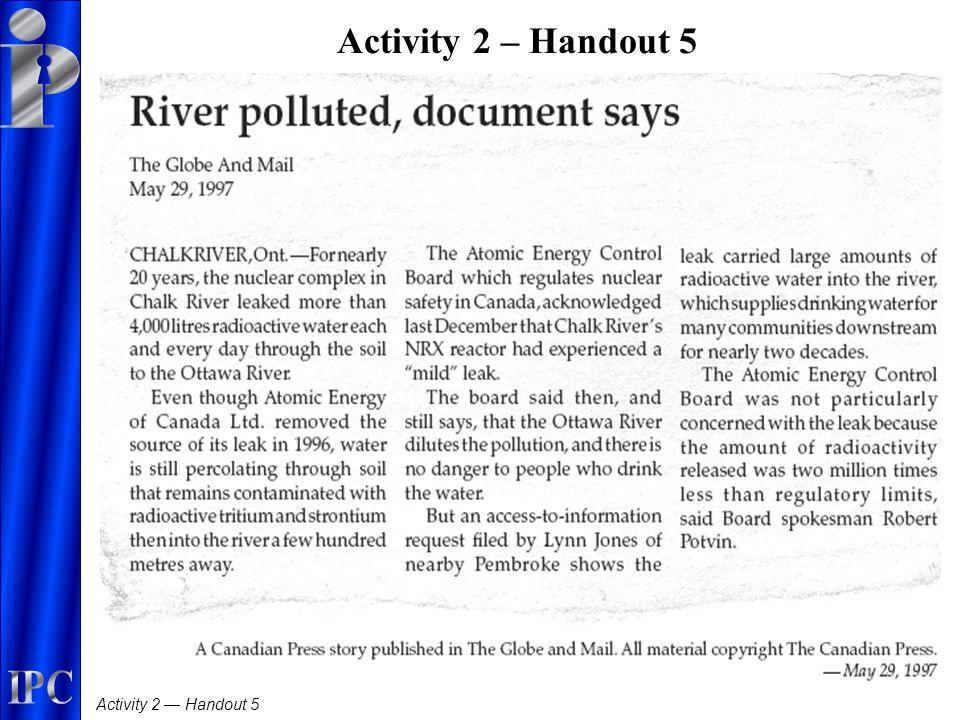 Activity 2 — Handout 5 Activity 2 – Handout 5