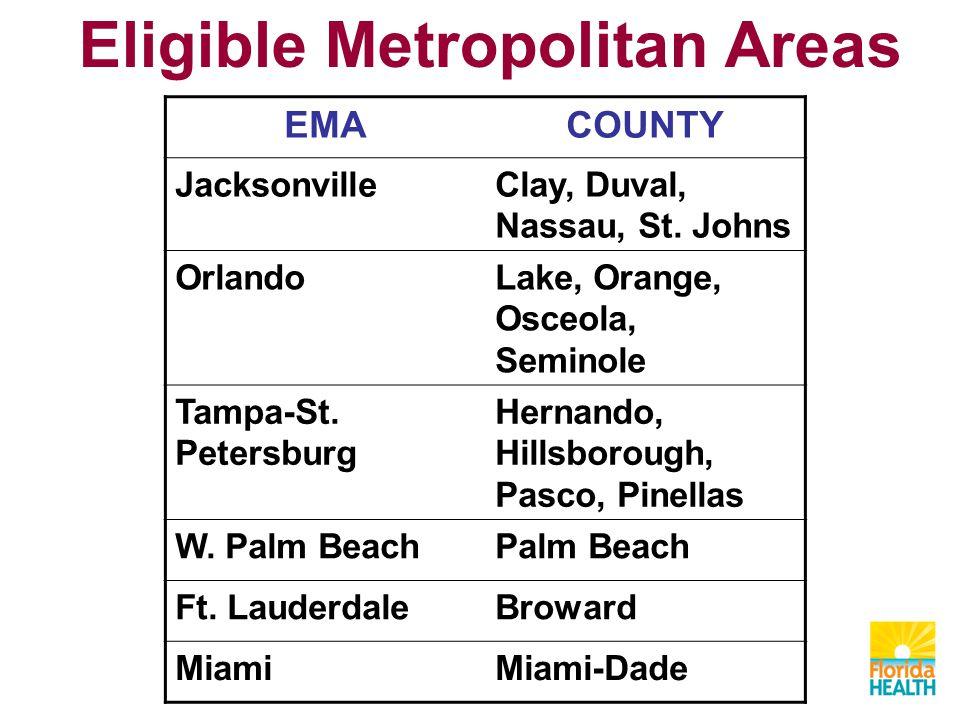Eligible Metropolitan Areas EMACOUNTY JacksonvilleClay, Duval, Nassau, St. Johns OrlandoLake, Orange, Osceola, Seminole Tampa-St. Petersburg Hernando,