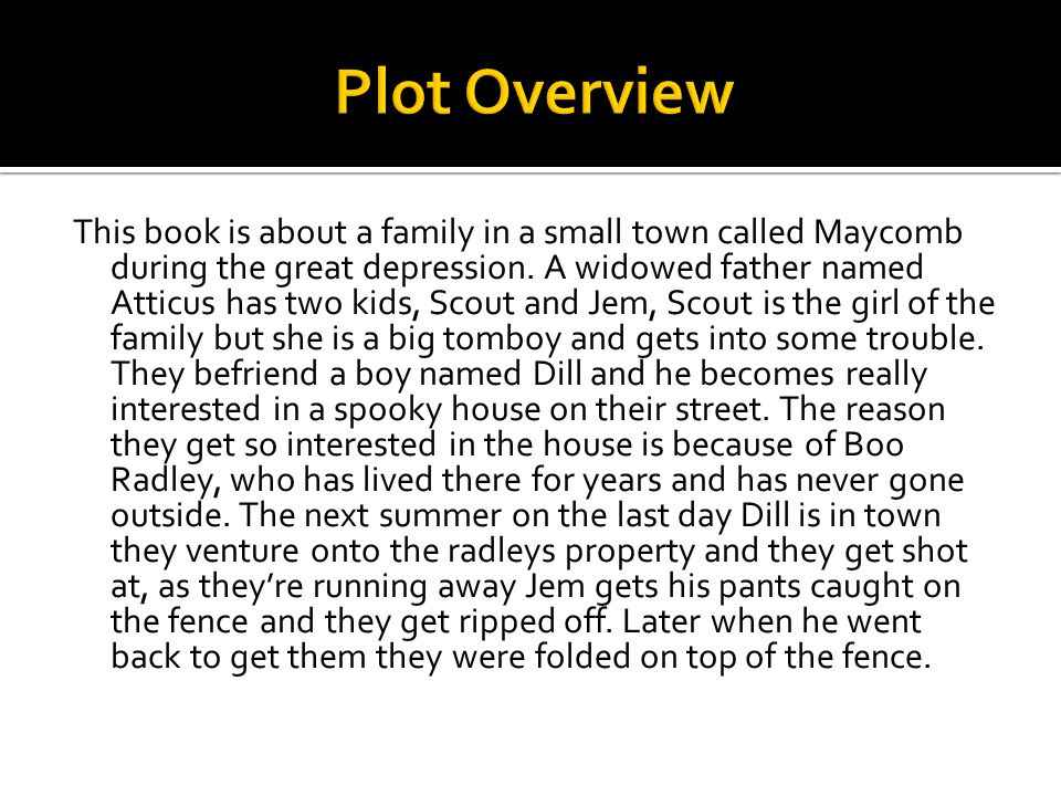 This book is about a family in a small town called Maycomb during the great depression.