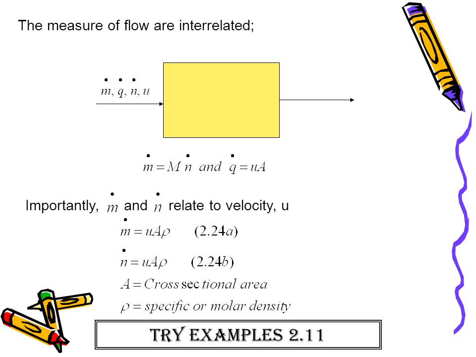 The measure of flow are interrelated; Importantly, and relate to velocity, u Try examples 2.11