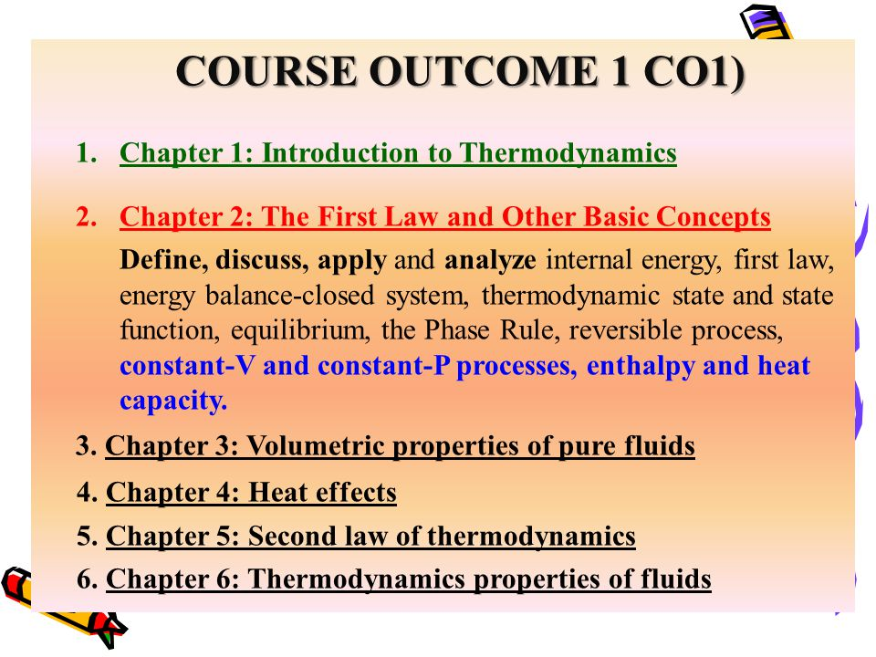 COURSE OUTCOME 1 CO1) 1.Chapter 1: Introduction to Thermodynamics 2.