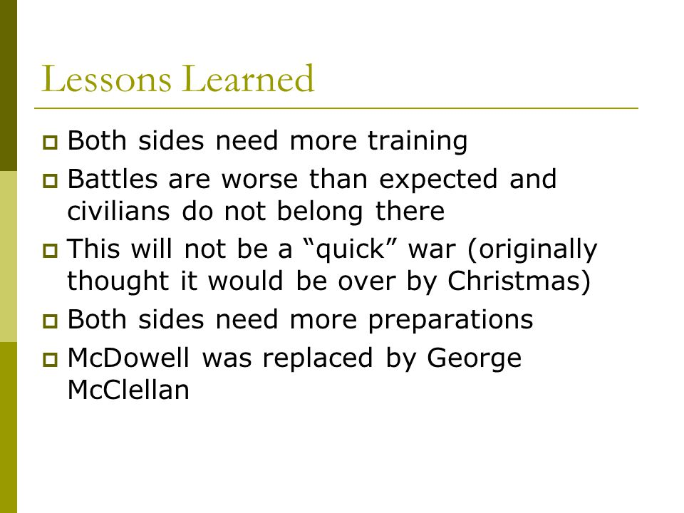 """Lessons Learned  Both sides need more training  Battles are worse than expected and civilians do not belong there  This will not be a """"quick"""" war ("""