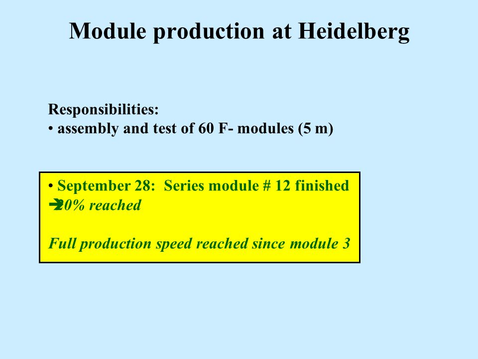 Module production at Heidelberg Responsibilities: assembly and test of 60 F- modules (5 m) September 28: Series module # 12 finished  20% reached Ful