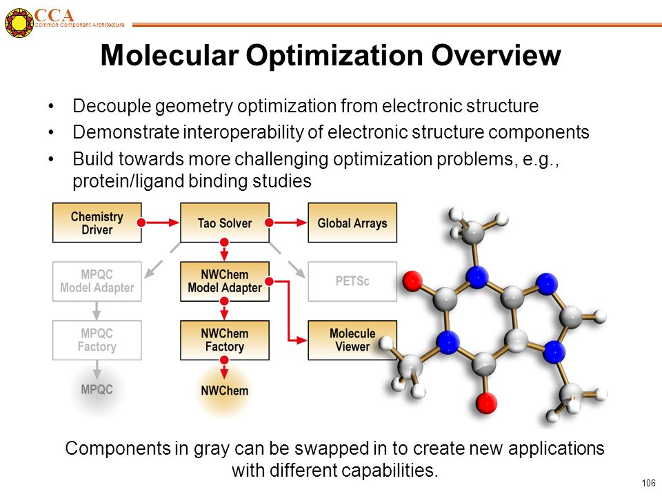 CCA Common Component Architecture 106 Molecular Optimization Overview Decouple geometry optimization from electronic structure Demonstrate interoperability of electronic structure components Build towards more challenging optimization problems, e.g., protein/ligand binding studies Components in gray can be swapped in to create new applications with different capabilities.