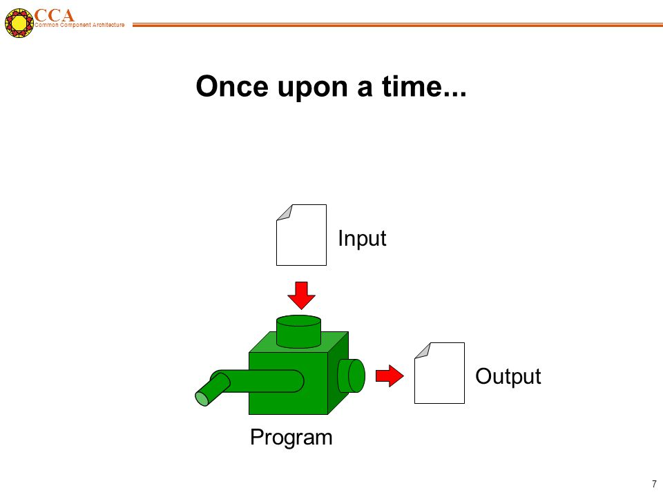 CCA Common Component Architecture 7 Once upon a time... Input Output Program