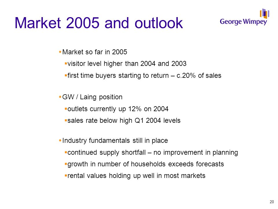 Market 2005 and outlook  Market so far in 2005  visitor level higher than 2004 and 2003  first time buyers starting to return – c.20% of sales  GW