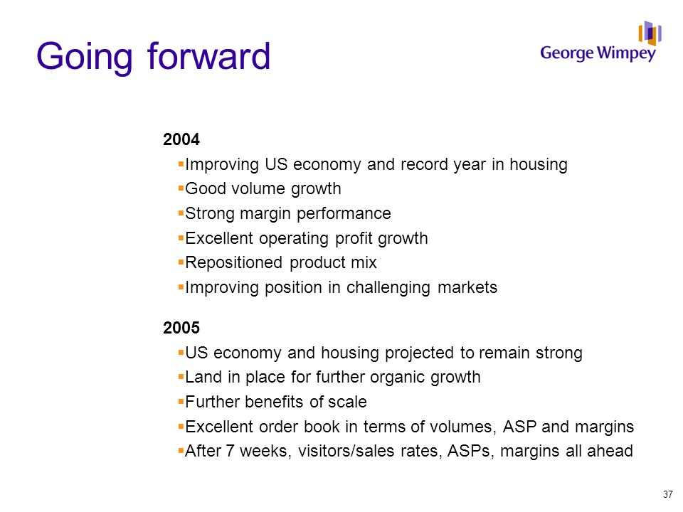Going forward 2004  Improving US economy and record year in housing  Good volume growth  Strong margin performance  Excellent operating profit growth  Repositioned product mix  Improving position in challenging markets 2005  US economy and housing projected to remain strong  Land in place for further organic growth  Further benefits of scale  Excellent order book in terms of volumes, ASP and margins  After 7 weeks, visitors/sales rates, ASPs, margins all ahead 37