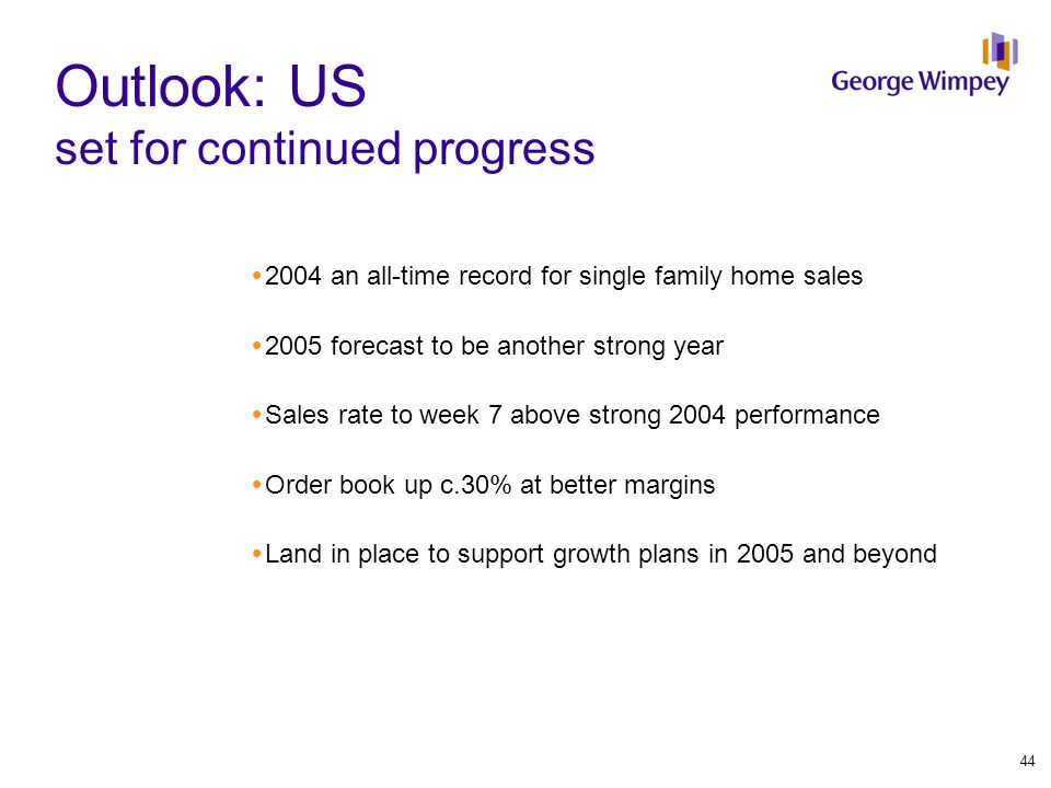 Outlook: US set for continued progress  2004 an all-time record for single family home sales  2005 forecast to be another strong year  Sales rate t