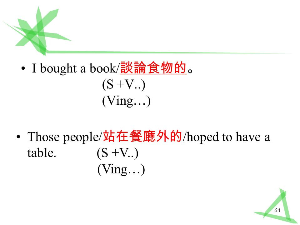 64 I bought a book/ 談論食物的。 (S +V..) (Ving … ) Those people/ 站在餐廰外的 /hoped to have a table.