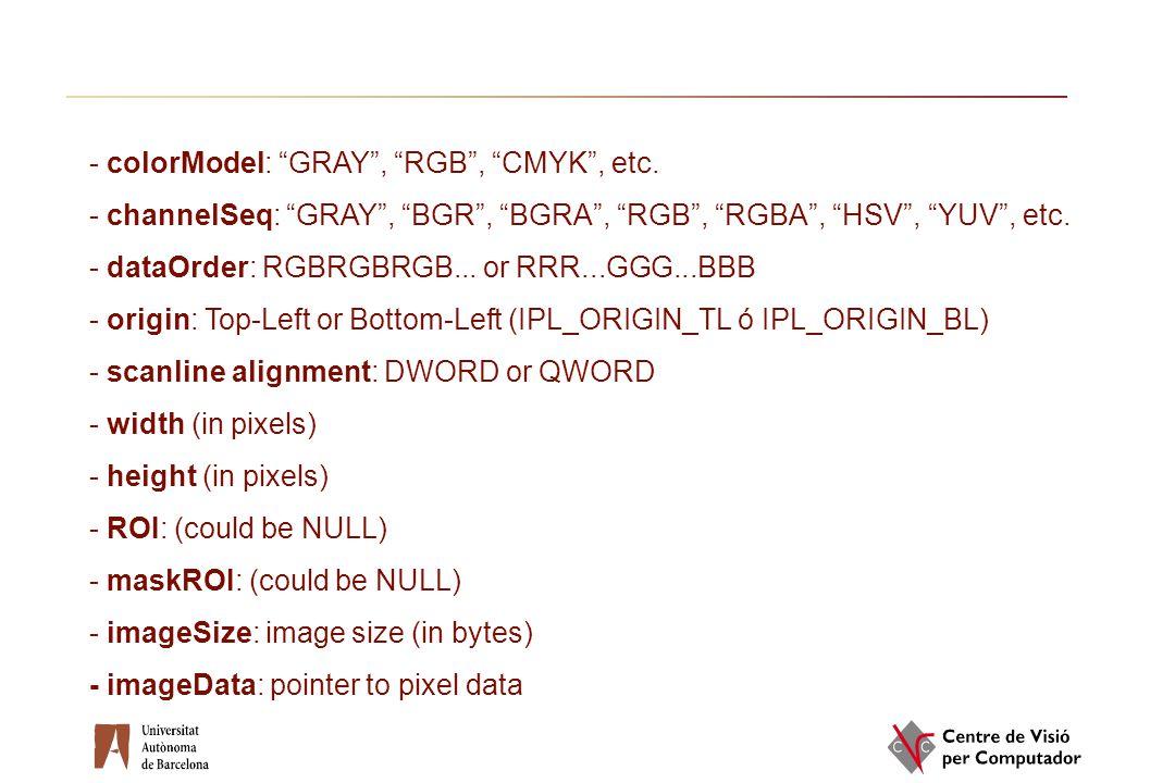 "- colorModel: ""GRAY"", ""RGB"", ""CMYK"", etc. - channelSeq: ""GRAY"", ""BGR"", ""BGRA"", ""RGB"", ""RGBA"", ""HSV"", ""YUV"", etc. - dataOrder: RGBRGBRGB... or RRR...GG"