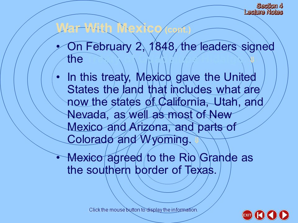 On February 2, 1848, the leaders signed the Treaty of Guadalupe Hidalgo.