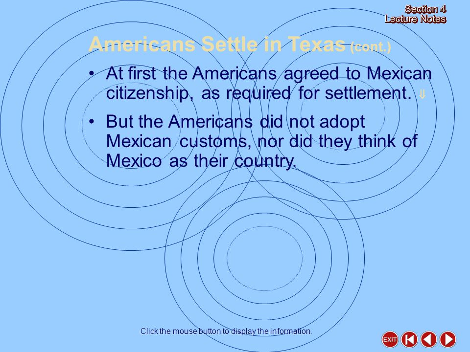 At first the Americans agreed to Mexican citizenship, as required for settlement.