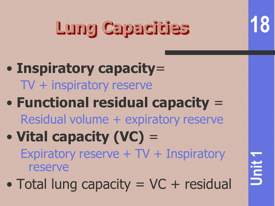 18 Unit 1 Inspiratory capacity= TV + inspiratory reserve Functional residual capacity = Residual volume + expiratory reserve Vital capacity (VC) = Exp