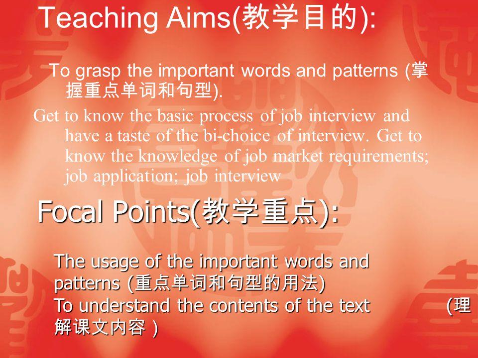 Difficult Points( 教学难点 ):  Focal patterns( 重点句型 ) Teaching Methods( 教学方法 ): Teaching( 讲授式 ) Teaching( 讲授式 ) Discussion( 讨论式 ) Discussion( 讨论式 ) Elicitation( 启发式 ) Elicitation( 启发式 )