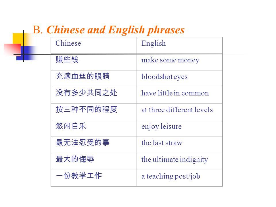 B. Chinese and English phrases ChineseEnglish 赚些钱 make some money 充满血丝的眼睛 bloodshot eyes 没有多少共同之处 have little in common 按三种不同的程度 at three different le