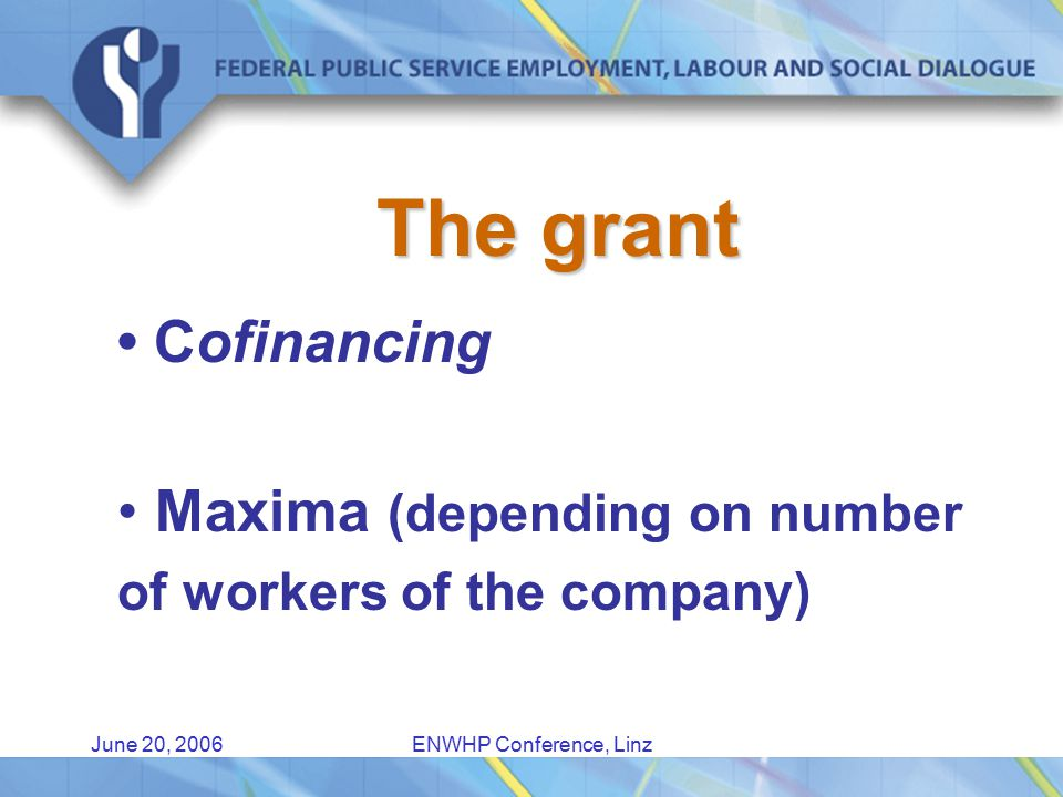 June 20, 2006ENWHP Conference, Linz The grant Cofinancing Maxima (depending on number of workers of the company)
