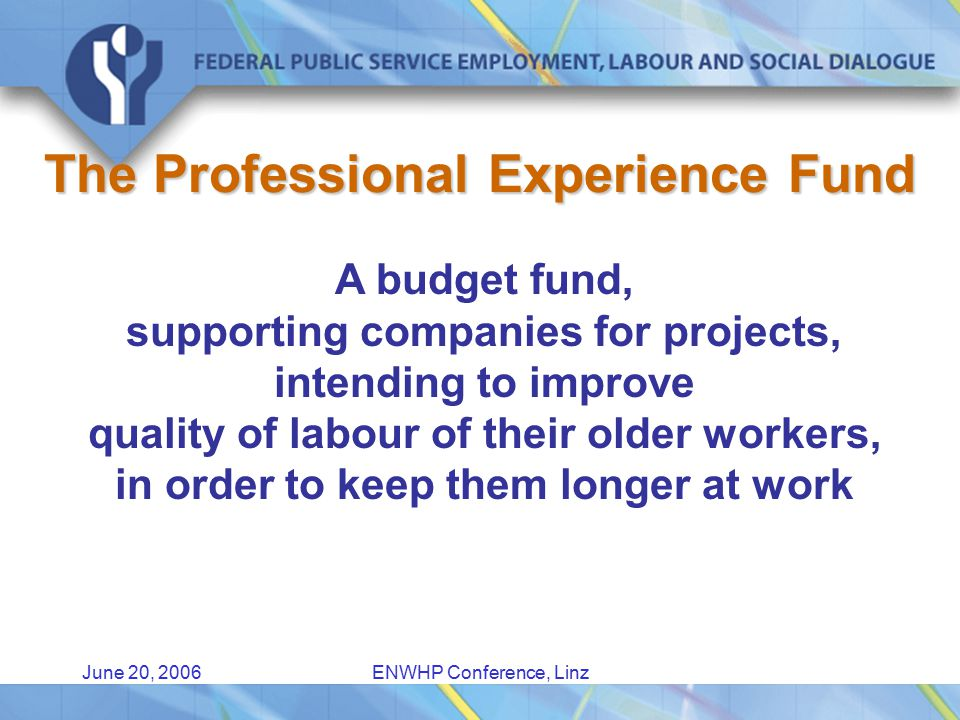 June 20, 2006ENWHP Conference, Linz Degree of employment of the older worker needs to increase Older workers are too expensive.