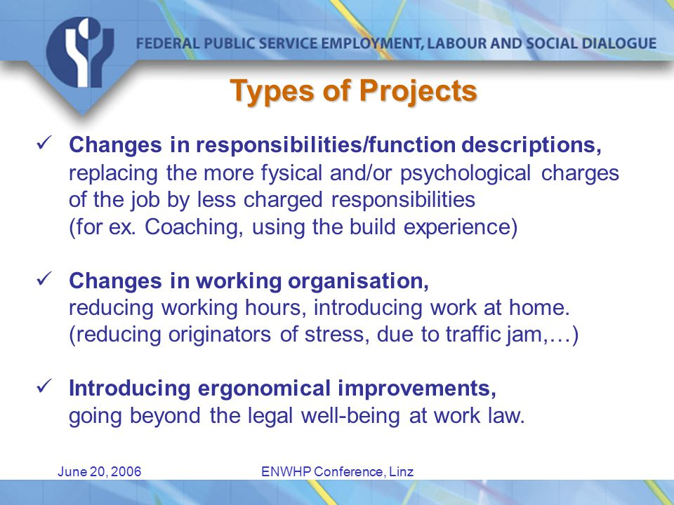 June 20, 2006ENWHP Conference, Linz Types of Projects Changes in responsibilities/function descriptions, replacing the more fysical and/or psychological charges of the job by less charged responsibilities (for ex.