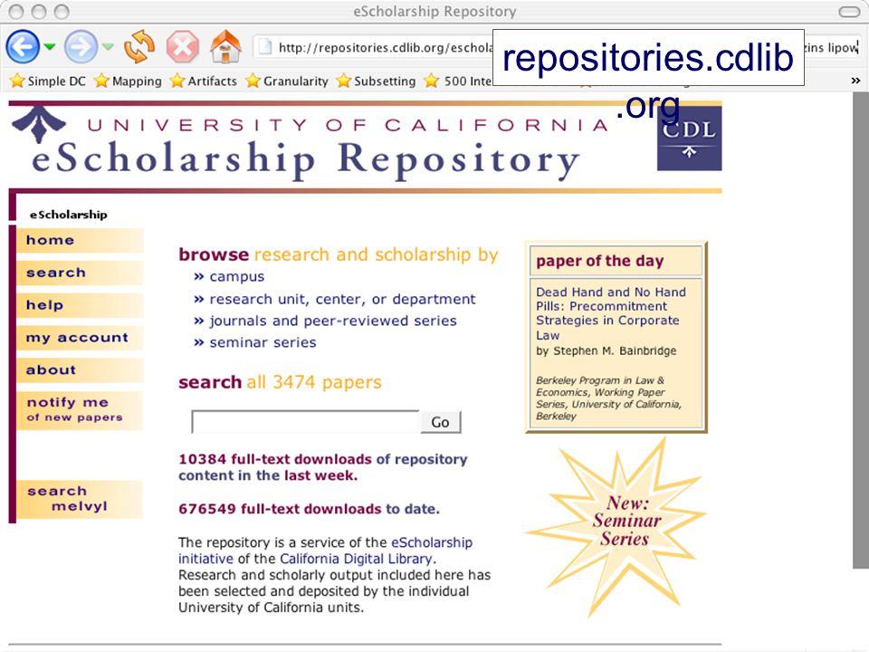 Institutional Repositories Digital collections capturing and preserving the intellectual output of a single or multi-university community. (SPARC) A way libraries can help change scholarly communication from a profit center to a social good Hot.