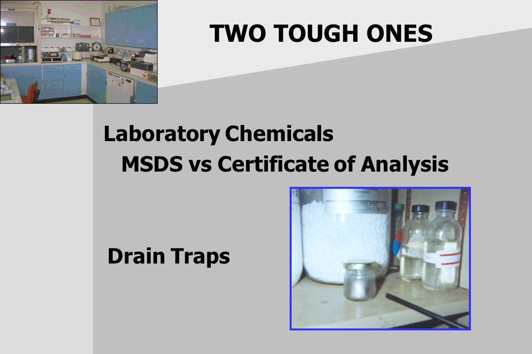TWO TOUGH ONES Laboratory Chemicals MSDS vs Certificate of Analysis Drain Traps