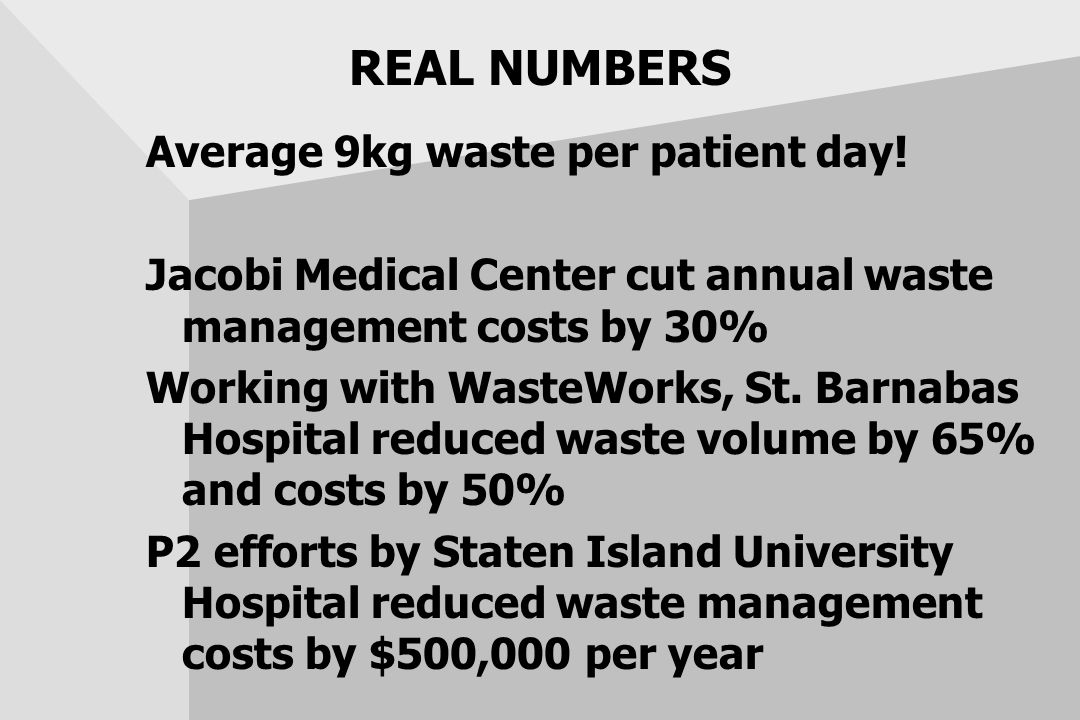 REAL NUMBERS Average 9kg waste per patient day! Jacobi Medical Center cut annual waste management costs by 30% Working with WasteWorks, St. Barnabas H