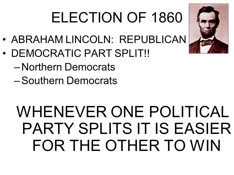 ELECTION OF 1860 ABRAHAM LINCOLN: REPUBLICAN DEMOCRATIC PART SPLIT!.
