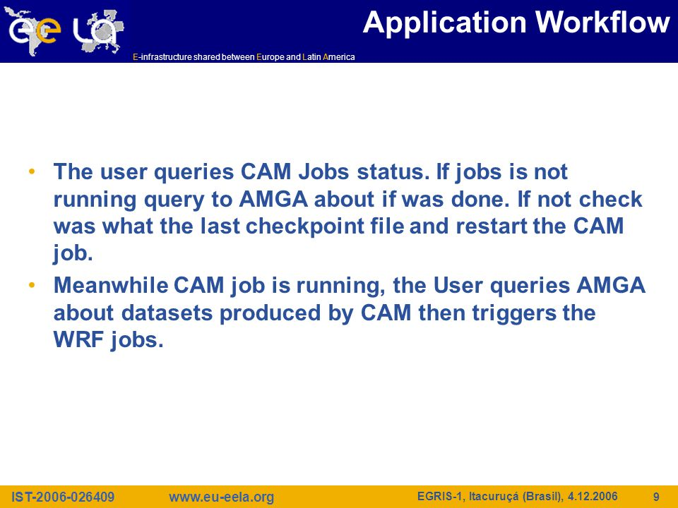 IST-2006-026409 E-infrastructure shared between Europe and Latin America www.eu-eela.org EGRIS-1, Itacuruçá (Brasil), 4.12.2006 9 Application Workflow The user queries CAM Jobs status.