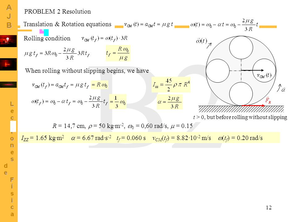 12 B2 Translation & Rotation equations t > 0, but before rolling without slipping Rolling condition When rolling without slipping begins, we have PROB