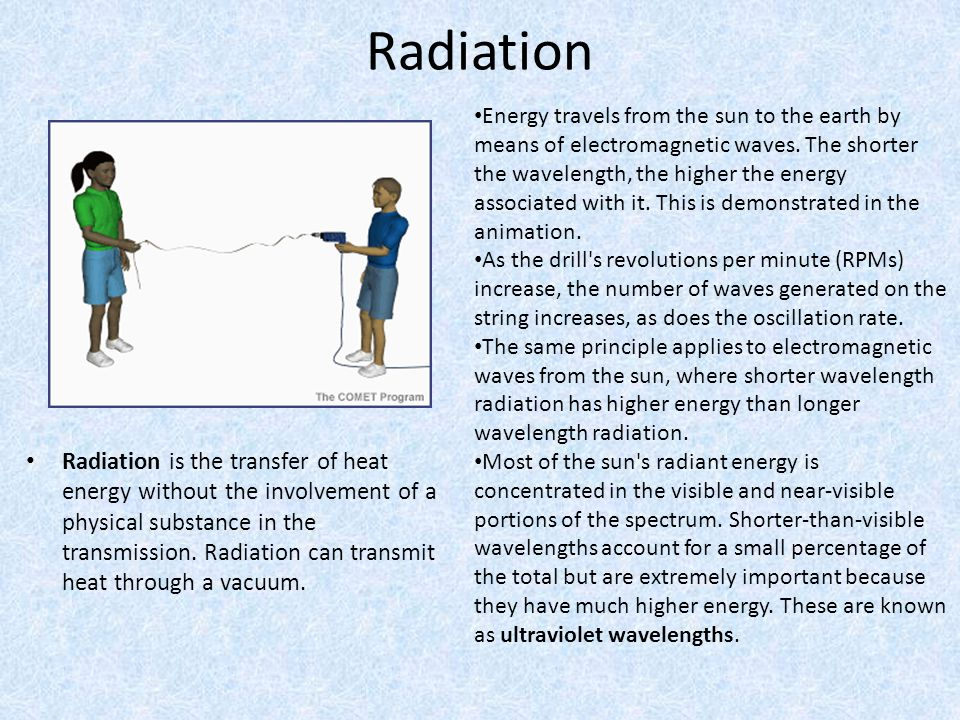 Radiation Radiation is the transfer of heat energy without the involvement of a physical substance in the transmission. Radiation can transmit heat th