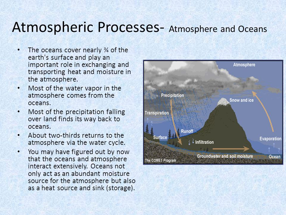 Atmospheric Processes- Atmosphere and Oceans The oceans cover nearly ¾ of the earth's surface and play an important role in exchanging and transportin