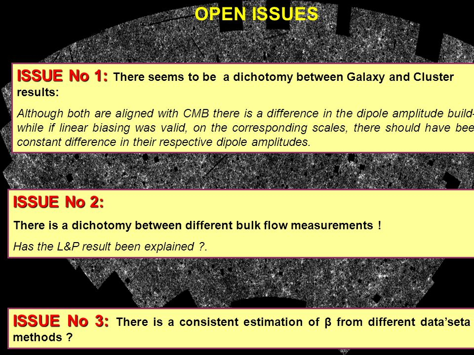 OPEN ISSUES ISSUE No 3: ISSUE No 3: There is a consistent estimation of β from different data'seta and methods .