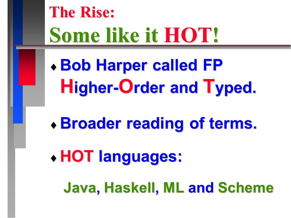 The Rise: Some like it HOT.  Bob Harper called FP H igher- O rder and T yped.