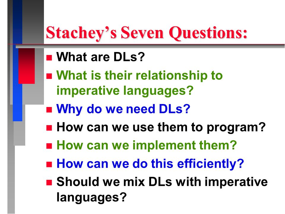 Stachey's Seven Questions: n What are DLs. n What is their relationship to imperative languages.
