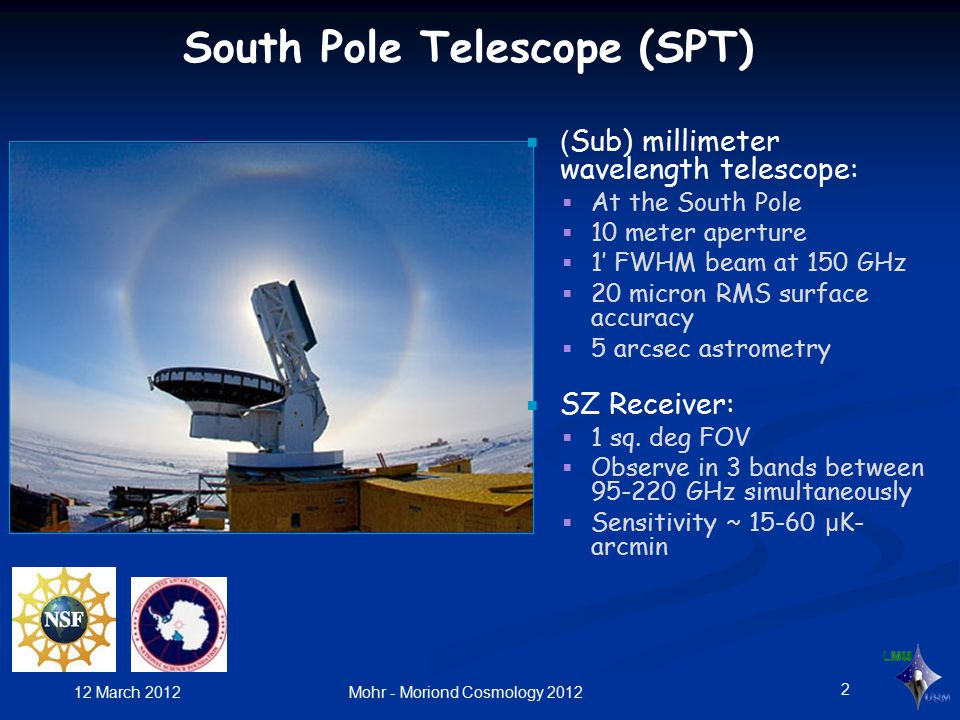 ( Sub) millimeter wavelength telescope:  At the South Pole  10 meter aperture  1' FWHM beam at 150 GHz  20 micron RMS surface accuracy  5 arcsec astrometry  SZ Receiver:  1 sq.