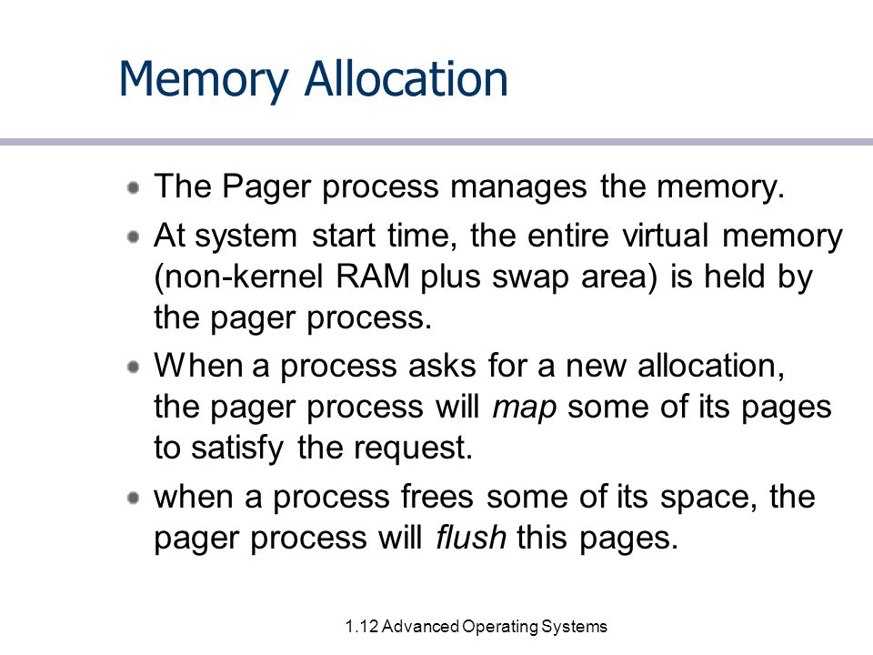 1.12 Advanced Operating Systems Memory Allocation The Pager process manages the memory.