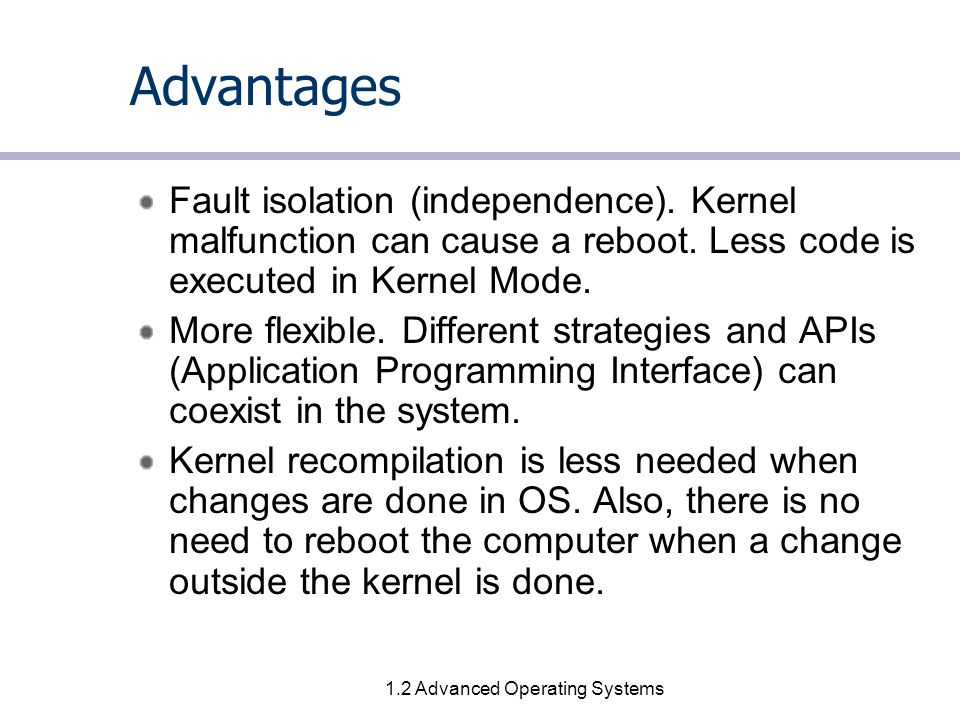 1.3 Advanced Operating Systems Disadvantages When integrating code into the most existing  -kernels, the performance of the code will be upgraded.