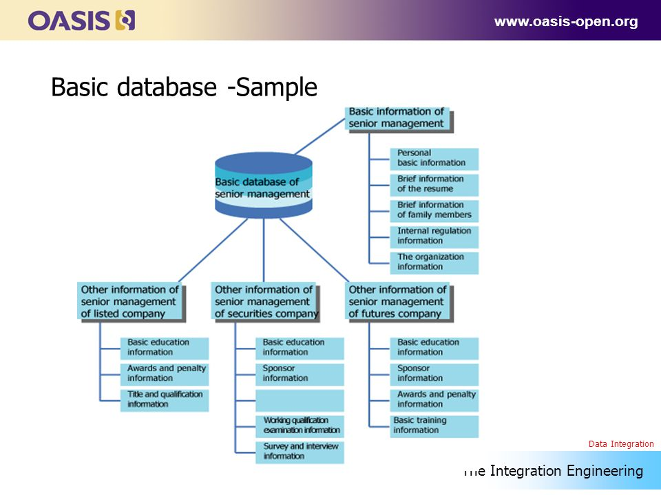 www.oasis-open.org Basic database -Sample The Integration Engineering Data Integration