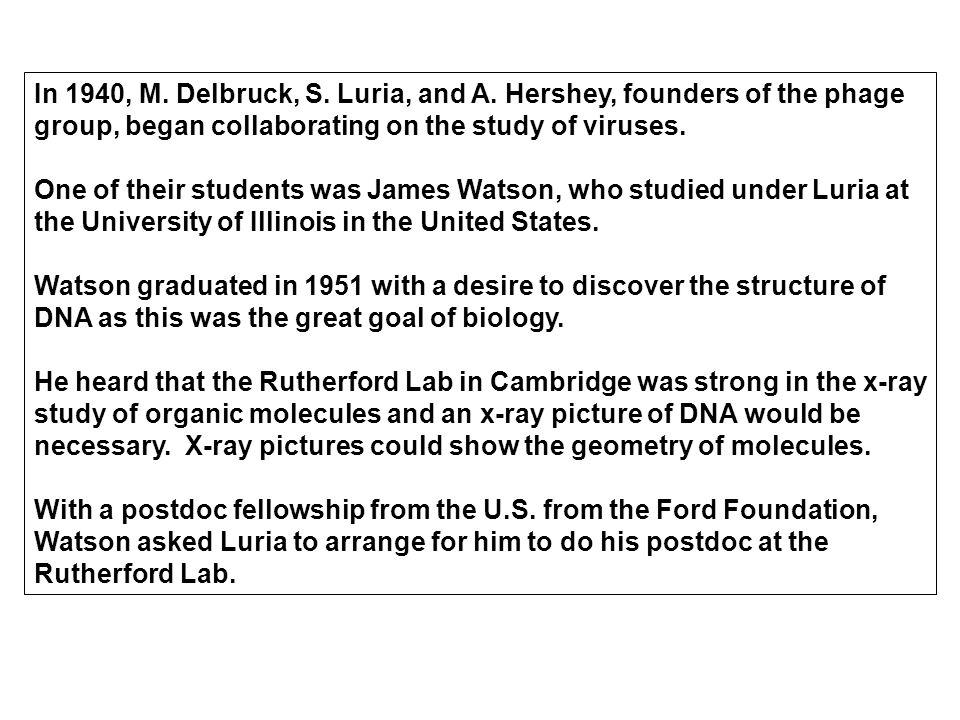 In 1940, M. Delbruck, S. Luria, and A.