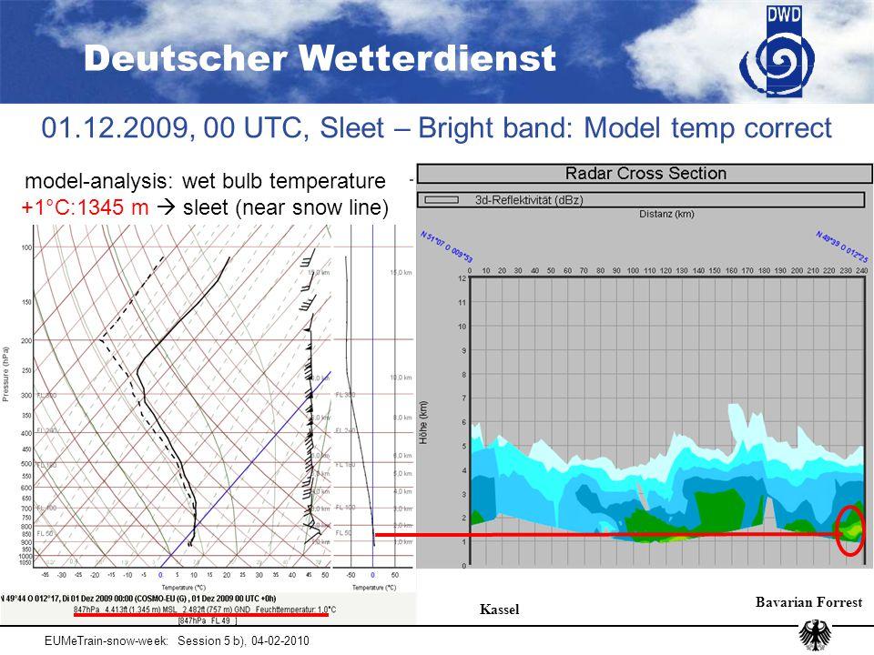 Deutscher Wetterdienst EUMeTrain-snow-week: Session 5 b), 04-02-2010 01.12.2009, 00 UTC, Sleet – Bright band: Model temp correct Kassel Bavarian Forrest model-analysis: wet bulb temperature +1°C:1345 m  sleet (near snow line)