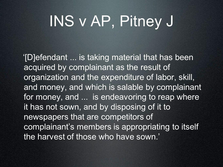 INS v AP, Pitney J '[D]efendant...