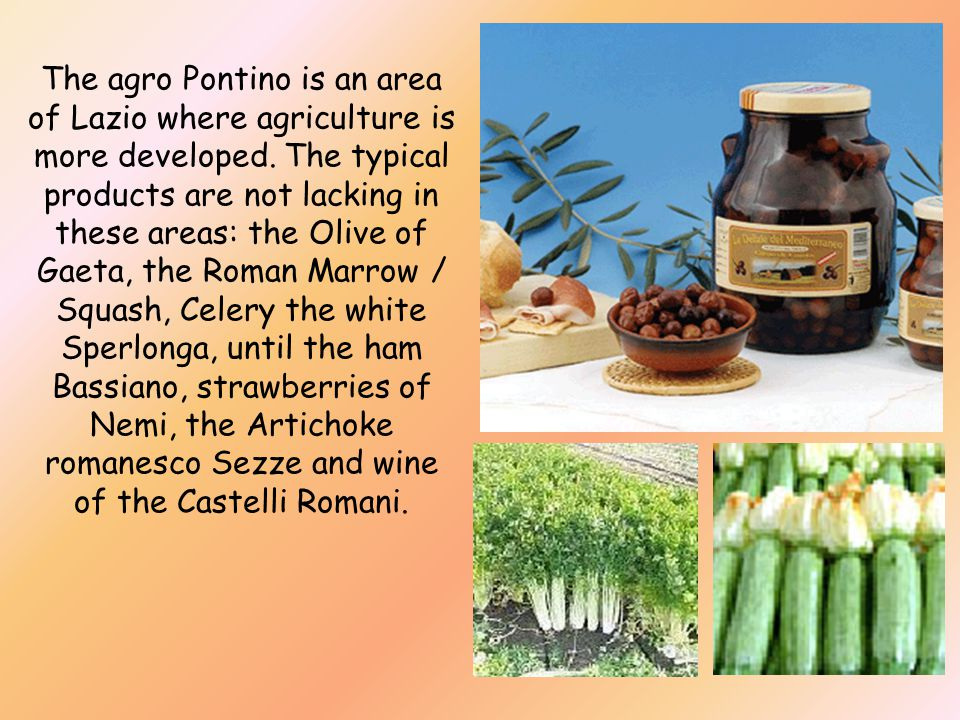 The agro Pontino is an area of Lazio where agriculture is more developed.