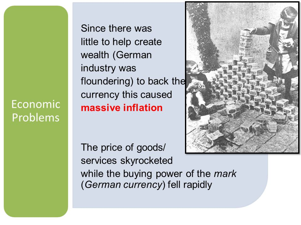 Economic Problems Since there was little to help create wealth (German industry was floundering) to back the currency this caused massive inflation The price of goods/ services skyrocketed while the buying power of the mark (German currency) fell rapidly