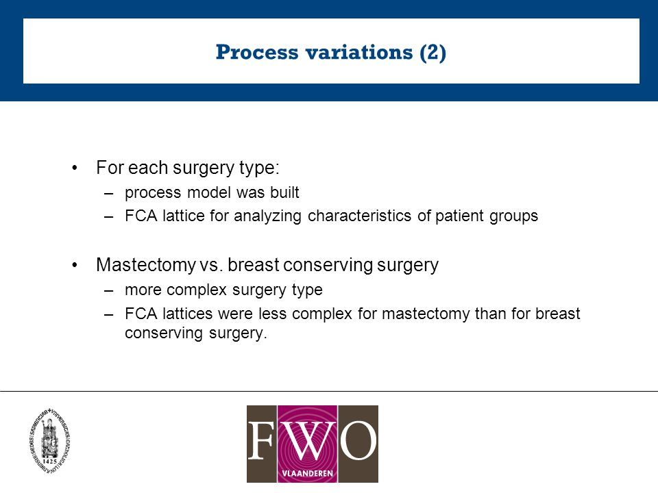 Process variations (2) For each surgery type: –process model was built –FCA lattice for analyzing characteristics of patient groups Mastectomy vs.