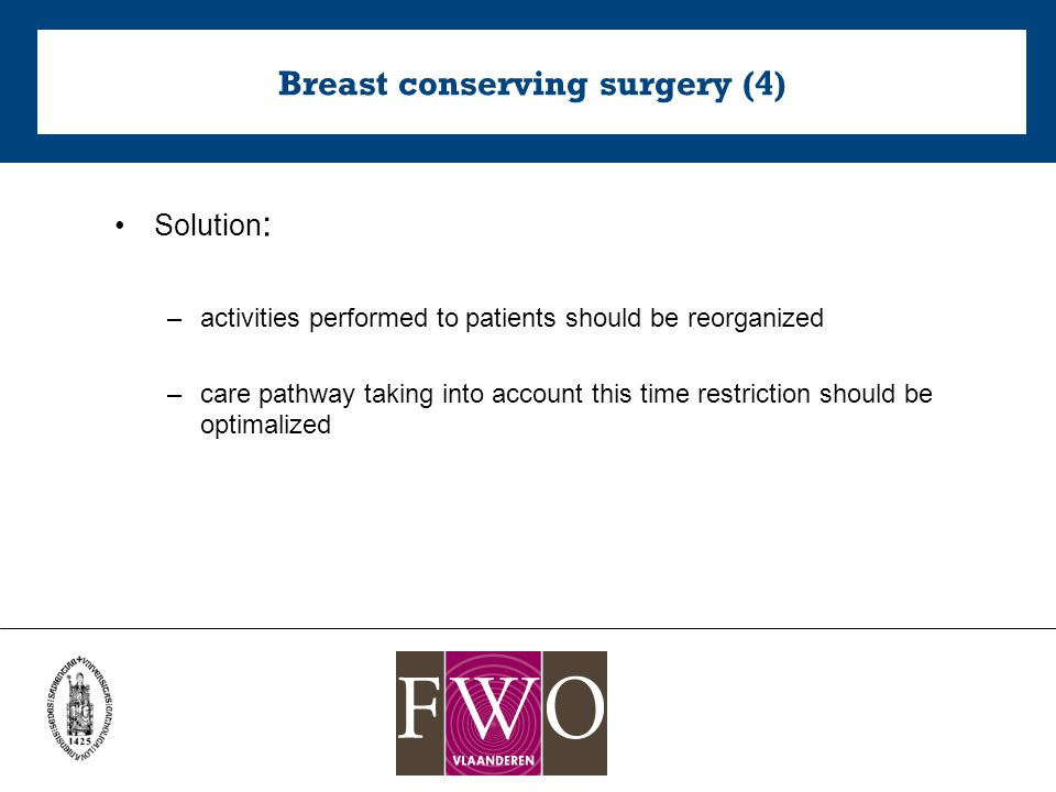 Breast conserving surgery (4) Solution : –activities performed to patients should be reorganized –care pathway taking into account this time restriction should be optimalized
