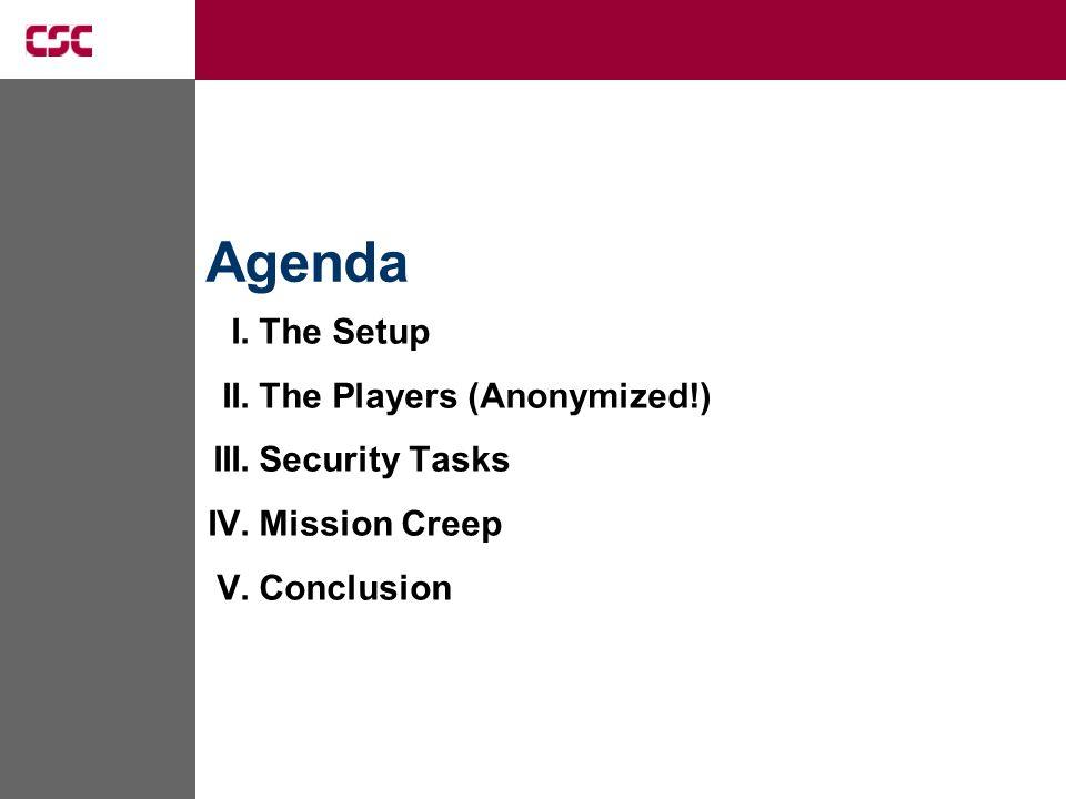 I.The Setup II.The Players (Anonymized!) III.Security Tasks IV.Mission Creep V.Conclusion Agenda